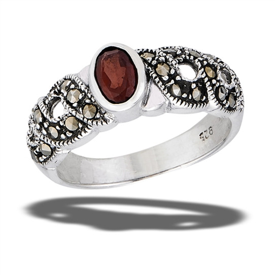 Garnet and Marcasite Sterling Ring