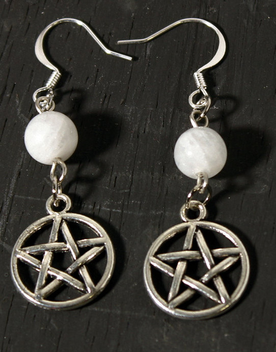 pewter pentagram earrings with moonstone accent beads
