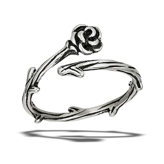 rose and thorn stainless steel adjustable ring
