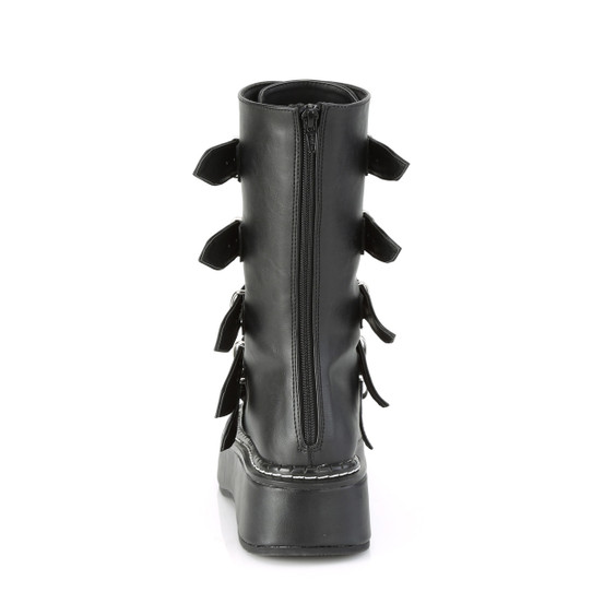 black faux leather boots with 5 heart buckles back view