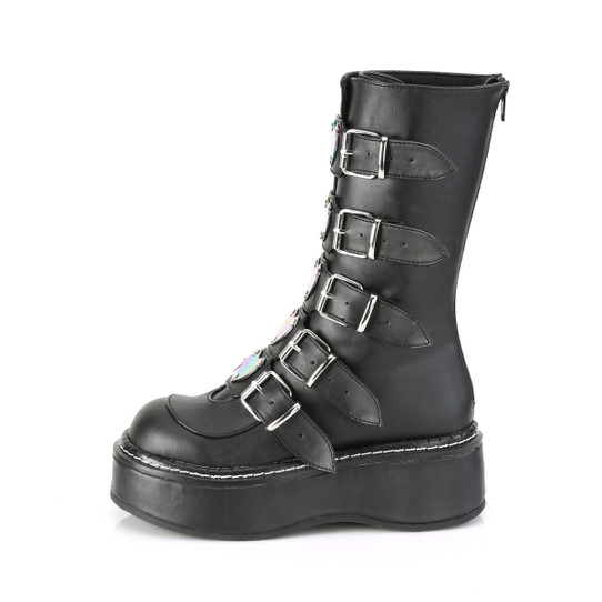 black faux leather boots with 5 heart buckles side view