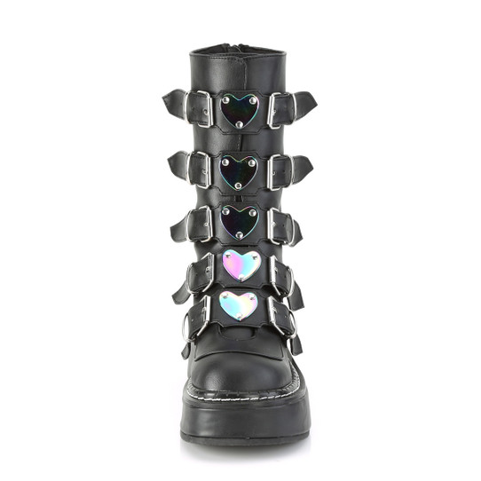 black faux leather boots with 5 heart buckles front view