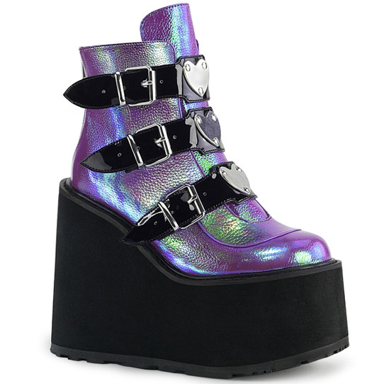 iridescent purple platform ankle boots with 3 heart buckles