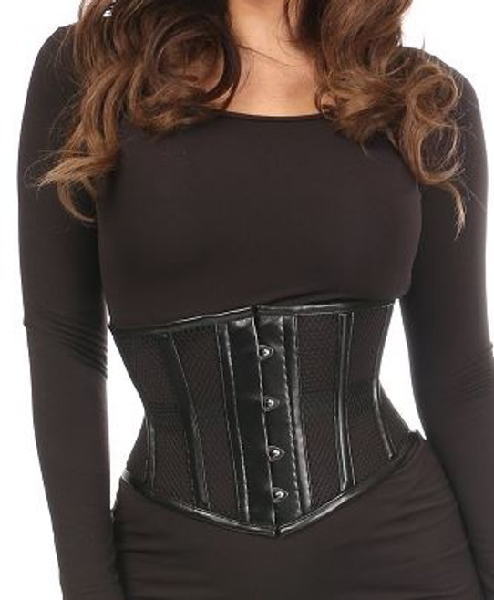 Fishnet and Faux Leather Steel boned Waist Cincher