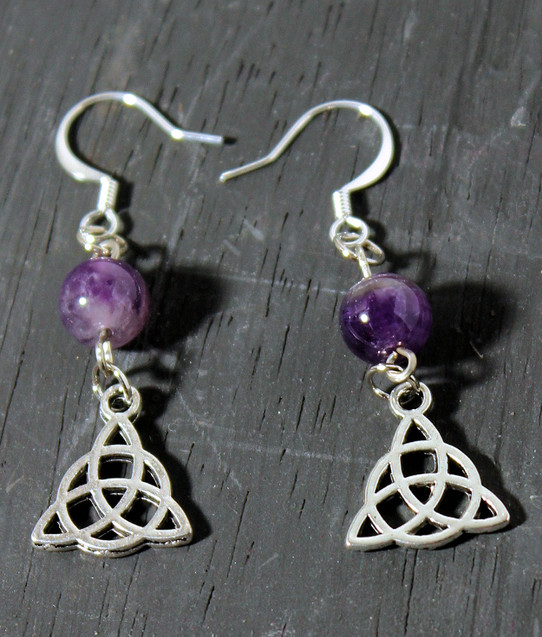 Amethyst Triquetra Earrings
