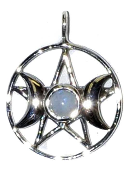 Sterling and Moonstone Triple Goddess pentagram Pendant