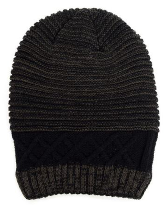 Black and Gray Slouchy Beanie Hat
