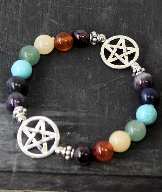 Rainbow Chakra Gemstone and Pentagram Bracelet