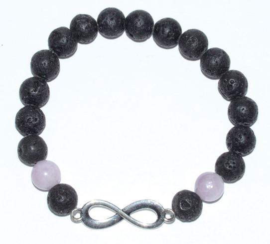 Infinity Lava and Kunzite Bracelet