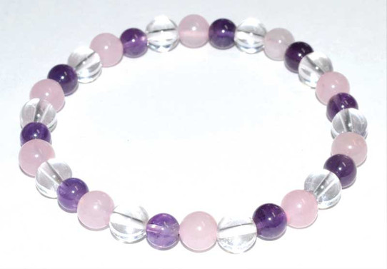 6 mm Amethyst, Quartz and Rose Quartz Bracelet