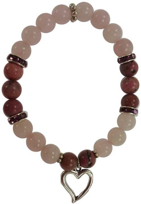 Rose Quartz and Rhodonite Heart Bracelet