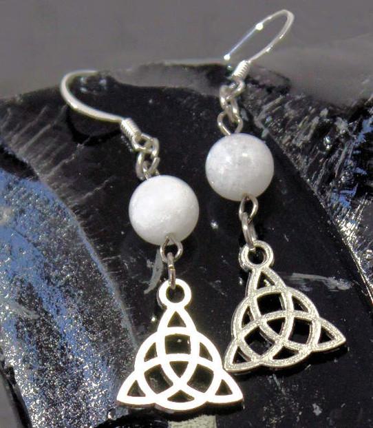Moonstone Triquetra Earrings