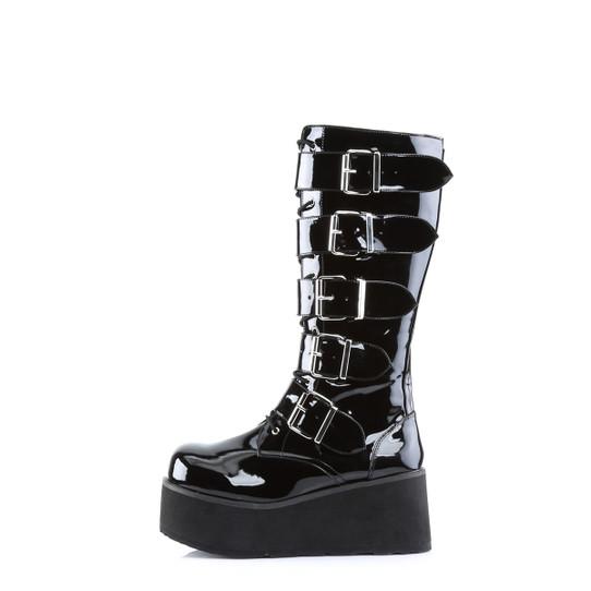 Big Buckle Patent Combat Boots