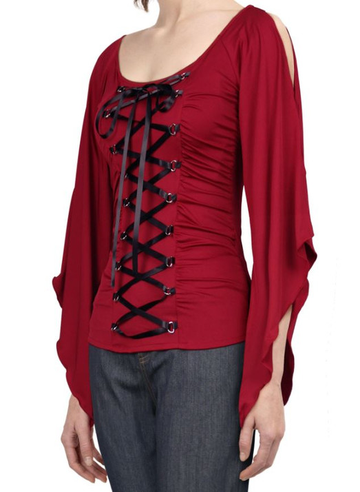 Red Corset Lace up Top