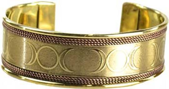 Triple Moon copper & brass bracelet