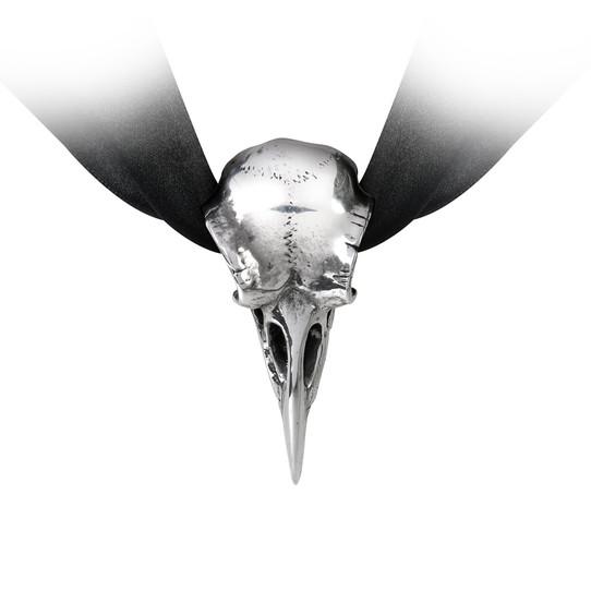 pewter raven skull ribbon choker
