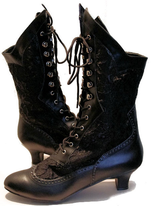 Dame Black Victorian Lace Boots