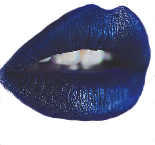world of Blue liquid lipstick metallic matte
