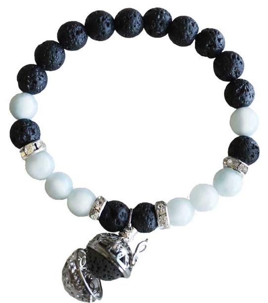 Aquamarine and Lava Aromatherapy bracelet