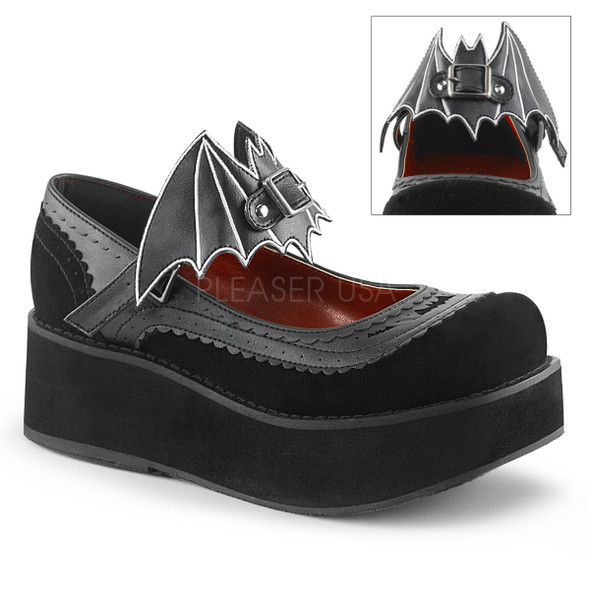 bat buckle velvet mary janes