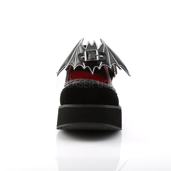 bat buckle velvet mary janes front