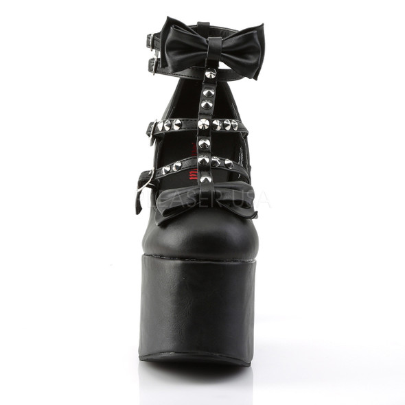 stud bow platform mary janes front