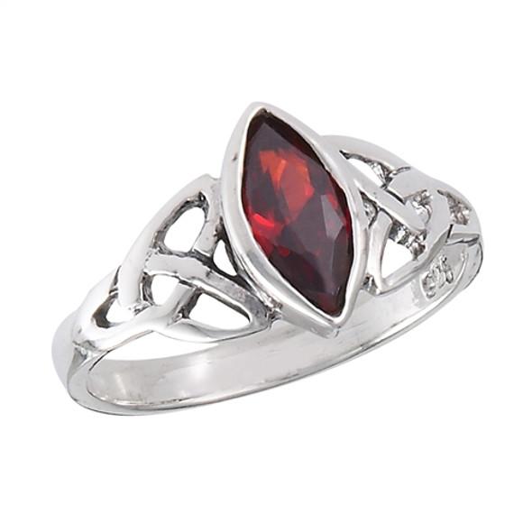 Sterling Celtic Garnet Ring