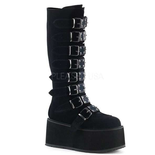 knee hi black velvet boots with buckles