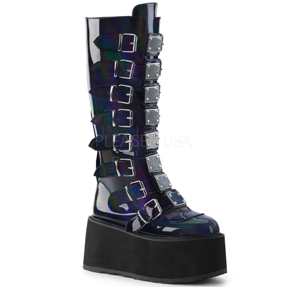 Black holographic knee hi boots with buckles