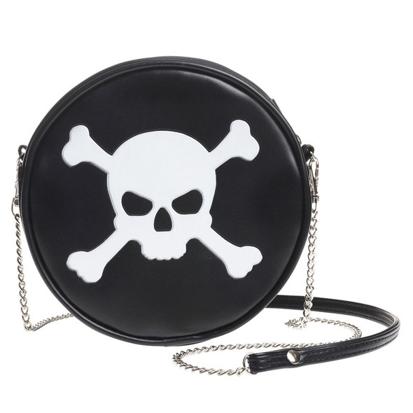 round black purse with white skull and crossbones