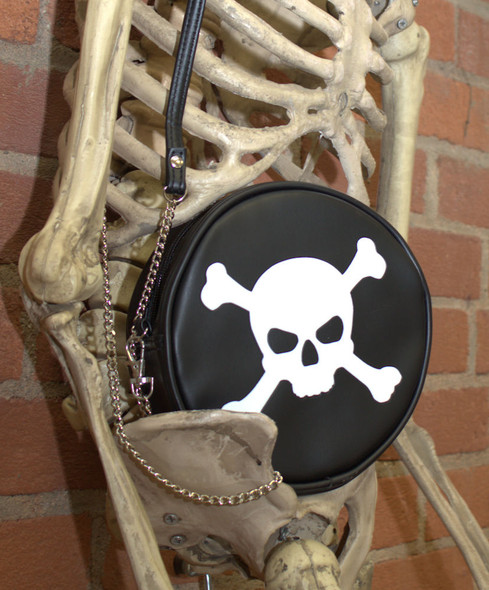 skull and crossbones crossbody round purse