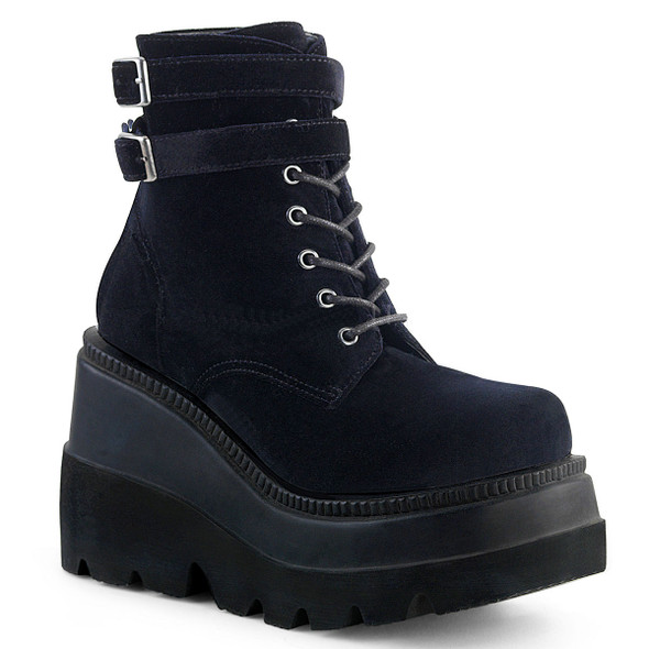 black velvet wedge ankle boots with buckles