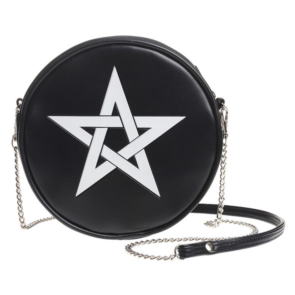 round black purse with white pentagram