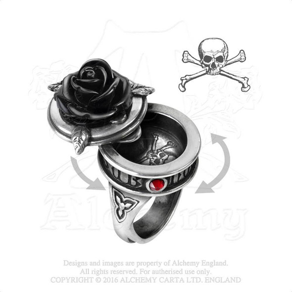 Black Rose of Death Poison Ring