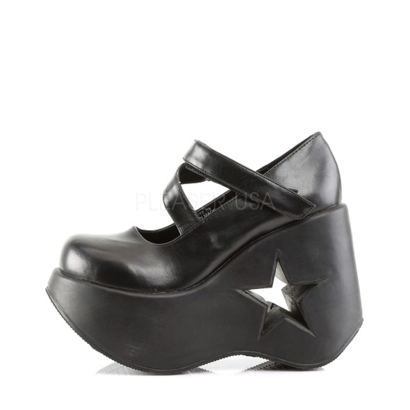 Black Star Wedge Mary Janes