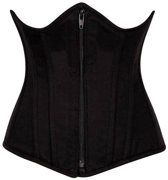 Black cotton Steel Boned underbust Corset