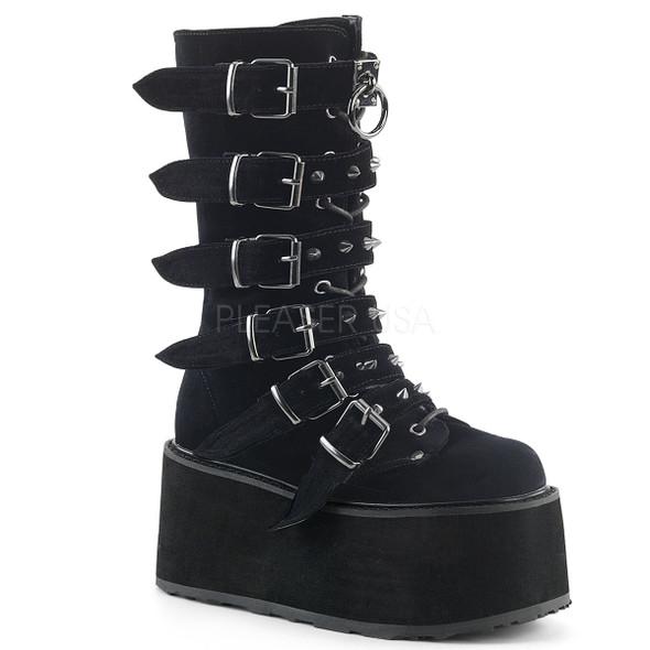 Black Velvet Buckle combat boots