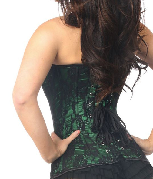 Emerald green lace corset back view