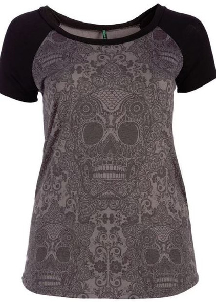 Raglan Bone top-plus size skull top made in USA
