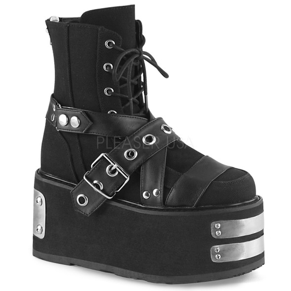 Black canvas buckle boots