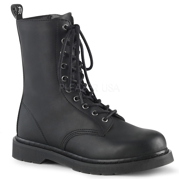 mid calf vegan leather combat boots