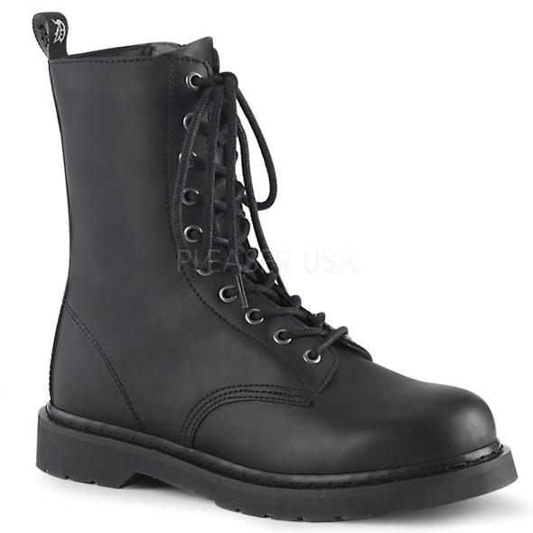 mid calf vegan leather combat boots