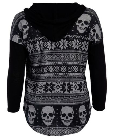 black and gray winter skull cardigan back