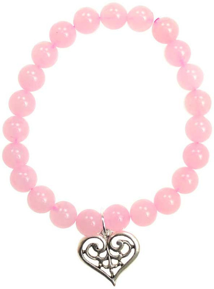 rose quartz beaded bracelet with pewter heart