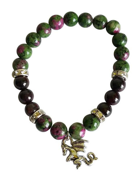 Ziosite and garnet beaded stretch braclet with dragon charm