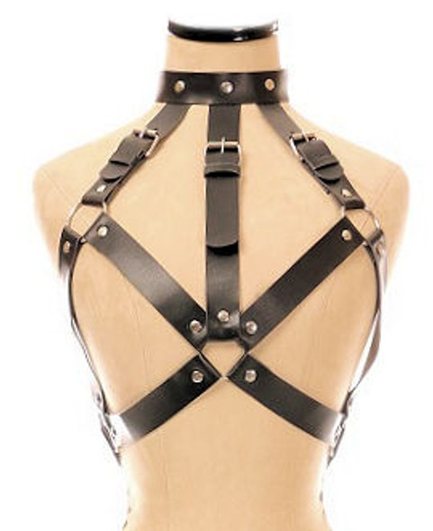 faux leather body harness