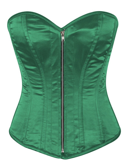 green satin steel boned corset