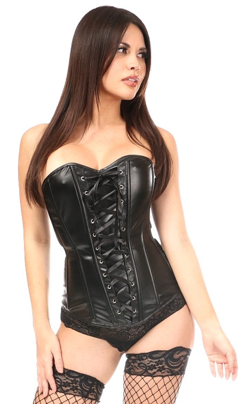 Wet Look Black Corset