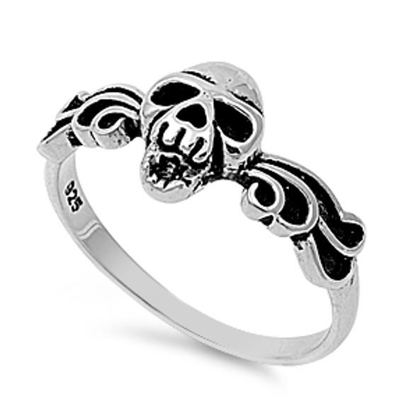 winged skull sterling silver ring