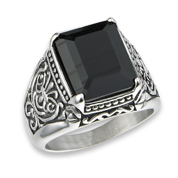 stainless steel black onyx ring